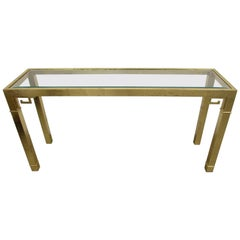 Mastercraft Brass Console Table with Greek Key Embellishments