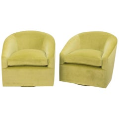 Modern Swivel Chair in Lime Green Velvet
