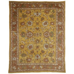 Late 19th Century Antique Turkish Oushak Rug with Warm Tuscan Style
