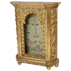 Baroque Style Painted and Partial Gilt Niche Cabinet