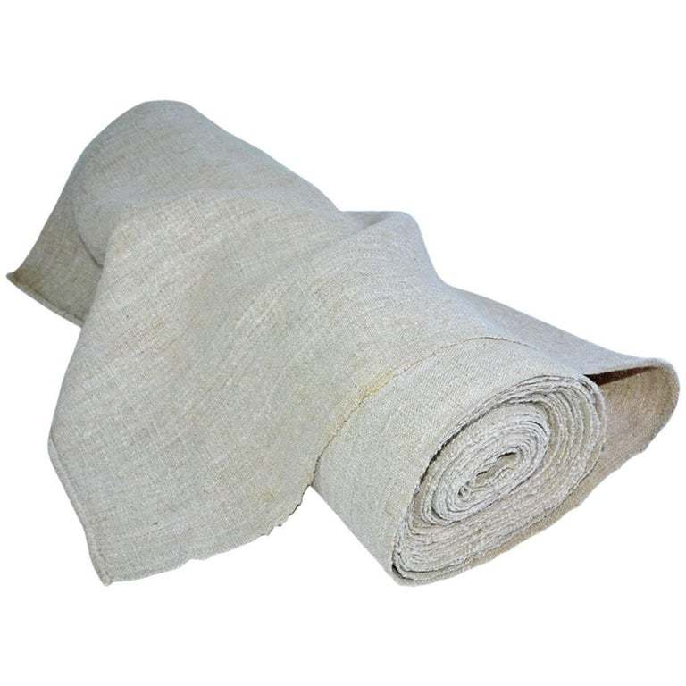Vintage Linen Grain Sack Fabric For Sale
