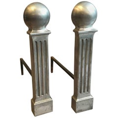 Hollywood Regency Polished Aluminum Column Andirons