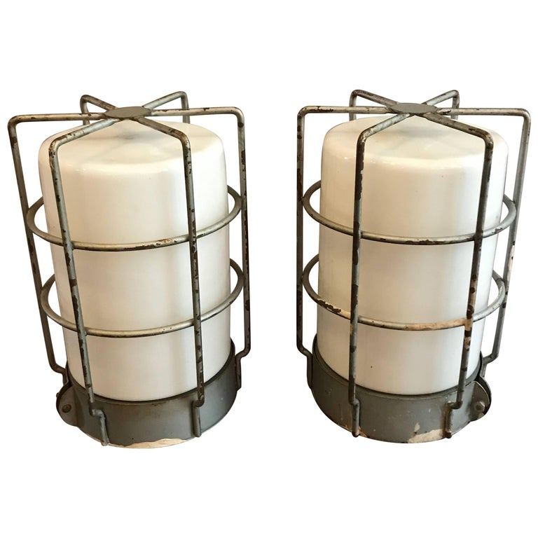 Industrial Caged Milk Glass Wall Sconce Flush Mount Ceiling Lights