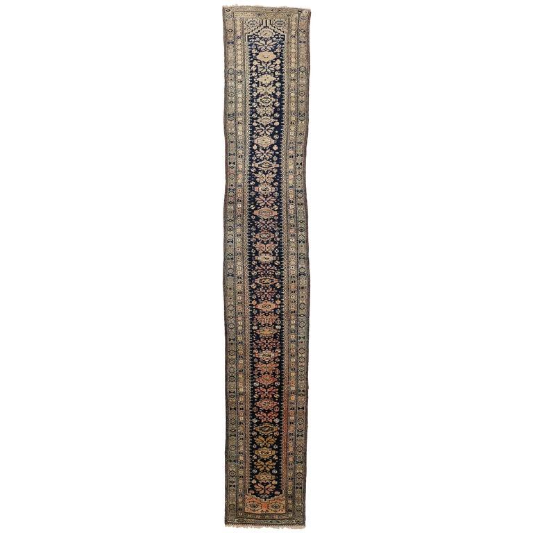 Antique Persian Malayer Rug Runner, Extra Long Hallway Runner