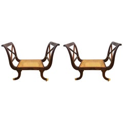 Pair of Neoclassical Carved Mahogany Settees Window Benches with Cane Seats