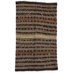 Vintage Turkish Striped Kilim Rug with Modern Cabin Style, Flat-Weave Rug