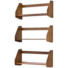 Oak Wall Shelves by Hans Wegner for Ry Møbler, Denmark, 1950s, Sets of Three