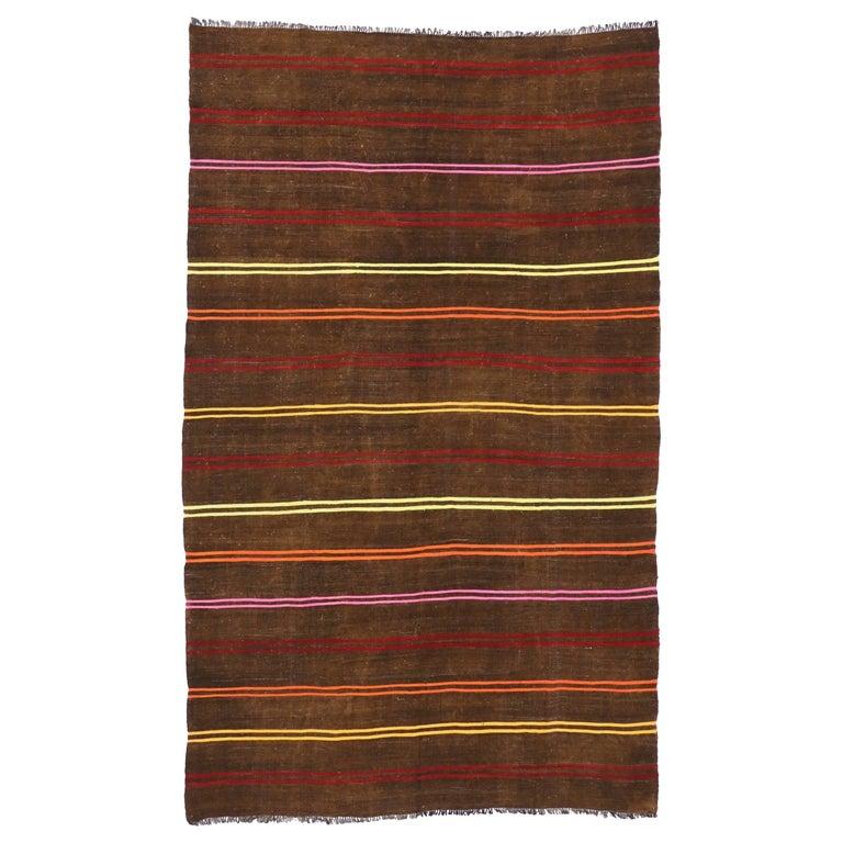 Vintage Turkish Kilim Rug with Stripes, Flat-Weave Kilim Rug