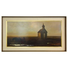 Russell Frost Oil on Canvas of a Country Church with Horse and Buggy