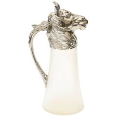Nickel-Plated and Frosted Glass Vintage Horse Decanter/ Pitcher/ Barware
