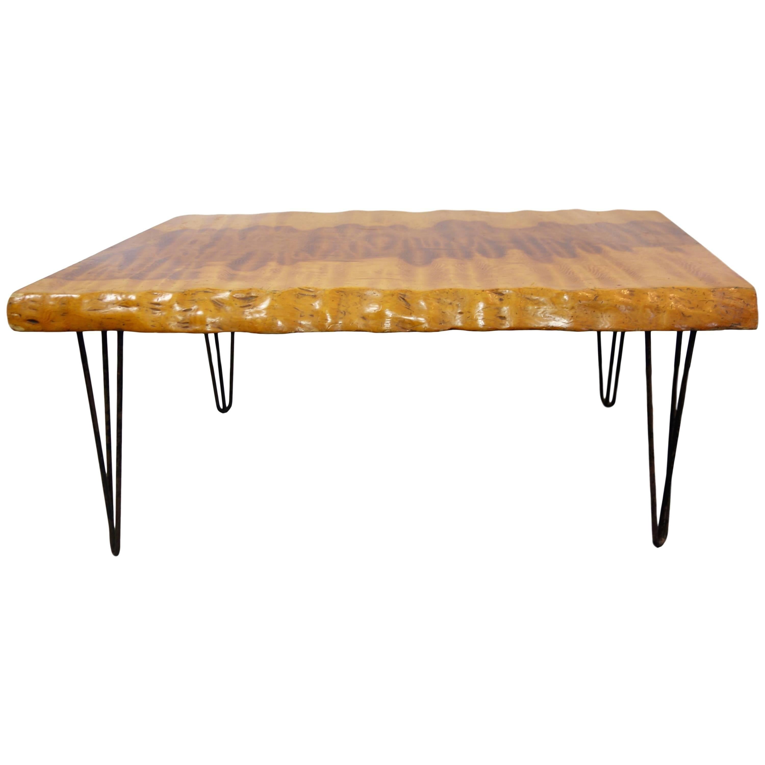 Midcentury Live Edge Burl Coffee Table With Hairpin Legs