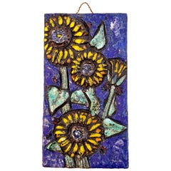 Floral Ceramic Tile Wall Plaque