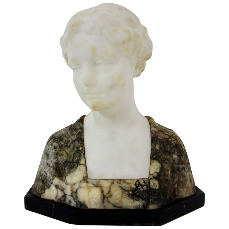 19th Century French Marble Bust of a Young Woman