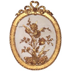 Neoclassical Style Venetian Carved Paint and Parcel Giltwood Floral Plaque