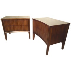 Walnut Midcentury Nightstands with Curved Front