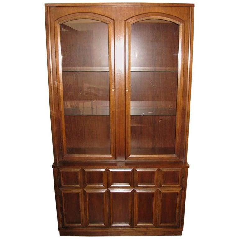 Mid-Century Modern Walnut China Hutch or Cabinet