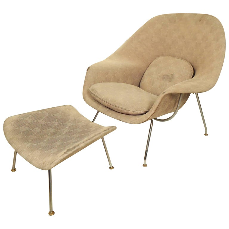 """Womb"" Chair and Ottoman by Eero Saarinen"