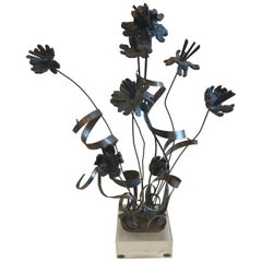 Brutal Iron Flower Arrangement in the Style of Paul Evans