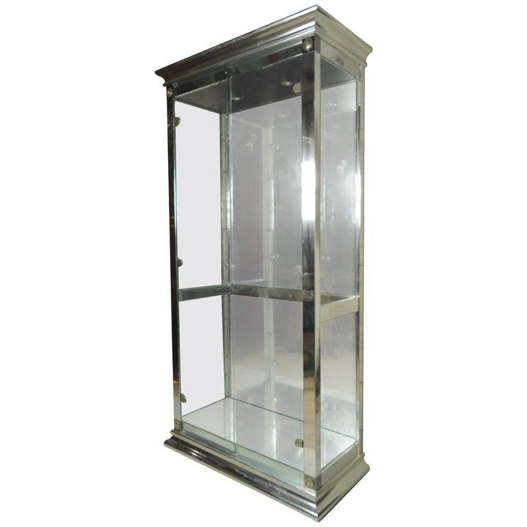 Tall Chrome and Glass Vitrine