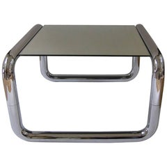 Mid-Century Modern Chromed Tubular Metal Side Table with Floating Mirrored Top