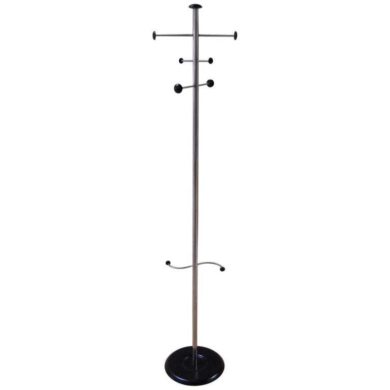 Mid-Century Modern Stainless Steel Coat and Umbrella Stand