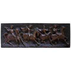Mid-Century Modern Roman Soldiers on Horses Relief Wall Art by Finesse Originals