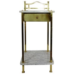 Two-Tiered Marble and Brass Commode