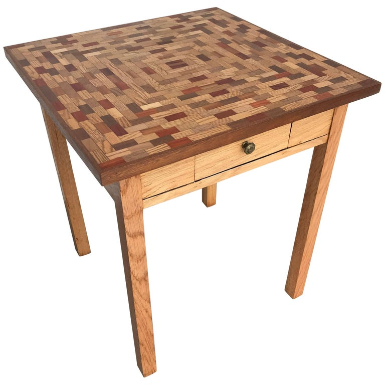 Little Parquet Top Game or Dining Table For Sale