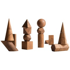Complete Set of Wooden Geometric Forms, circa 1957