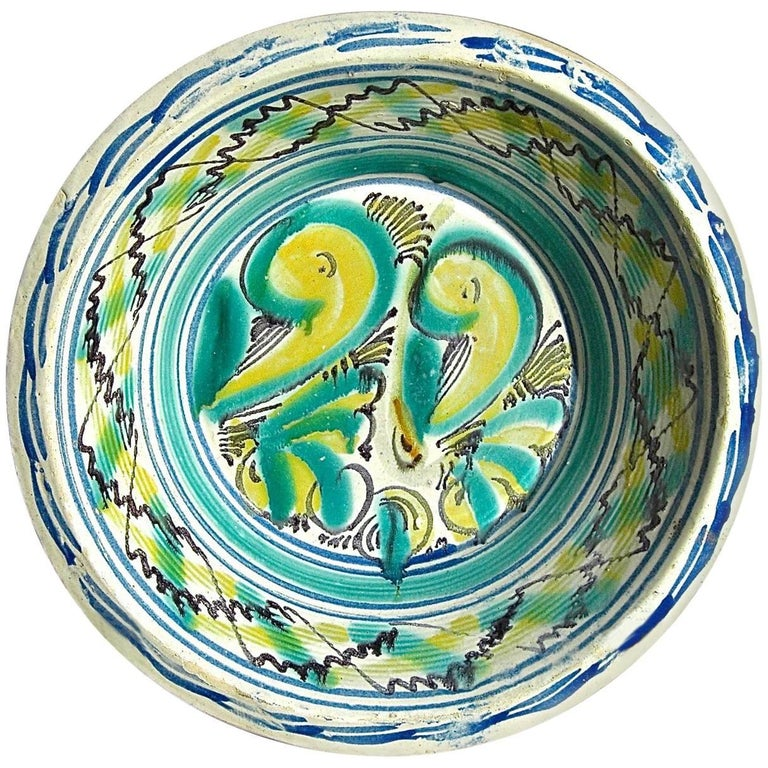 19th Century Painted and Glazed Majolica Wash Basin from Triana, Spain For Sale