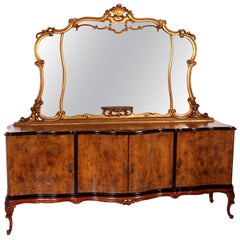 Early 20th Century Venetian Baroque Mirrored Sideboard Carved Walnut Burl Walnut