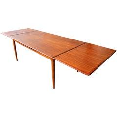 Danish Modern Teak Rare Large Draw Leaf Dining Table by Skovmand & Andersen
