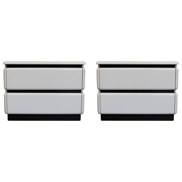 White Lacquered Nightstands by Rougier, Pair For Sale