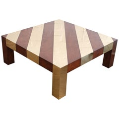 Wood and Brass Inlay 1970s Style Low Square Coffee Table