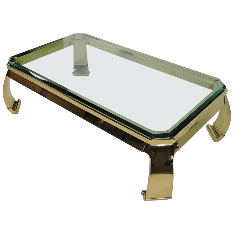 Hollywood Regency Asian Style Italian Brass and Glass Coffee Table