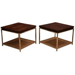 Mid Century Rosewood and Chrome Side Tables