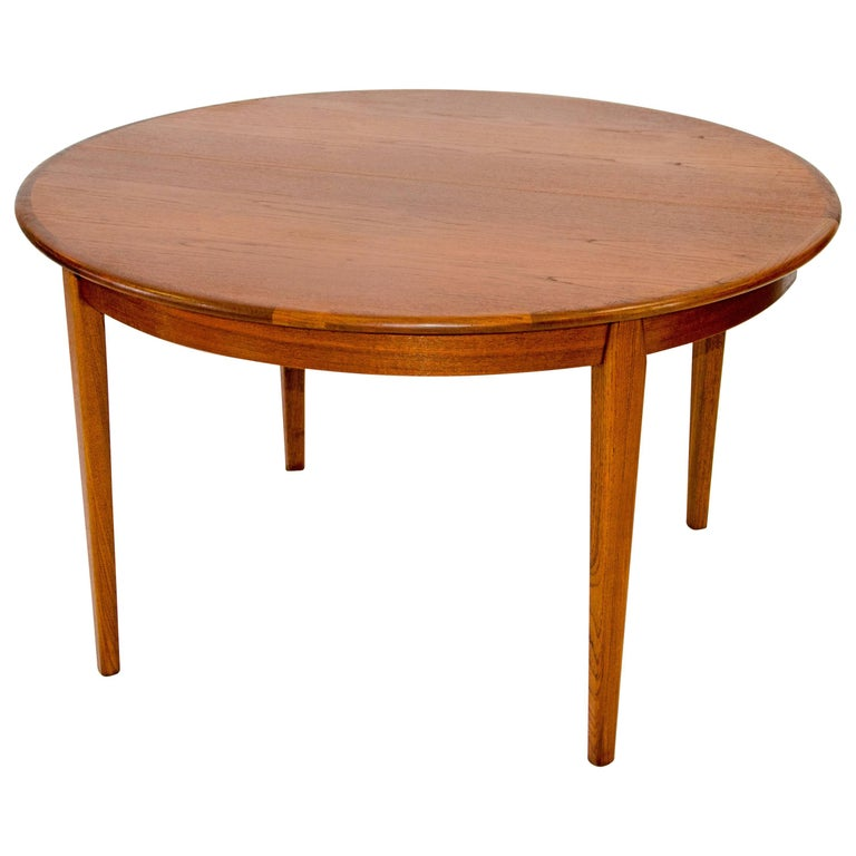 Danish Teak Round Dining Table, Three Leaves with Aprons by H. Sigh & Sons