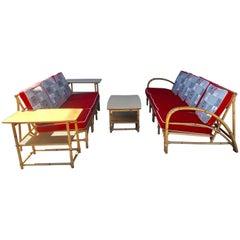 Eight-Piece Art Deco Bamboo, Barkcloth Cushion Seating by Heywood-Wakefield