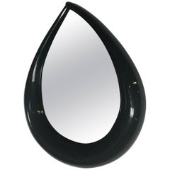 Large Midcentury POP Modern Teardrop Mirror in Black Lacquer, circa 1971