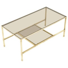 French Modernist Solid Brass and Glass Coffee Table with Matching End Tables