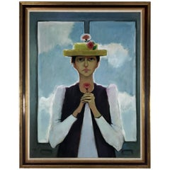 "Modernist Folk Art Oil on Canvas Painting ""Yellow Hat"" Signed Nalive, circa 1991"