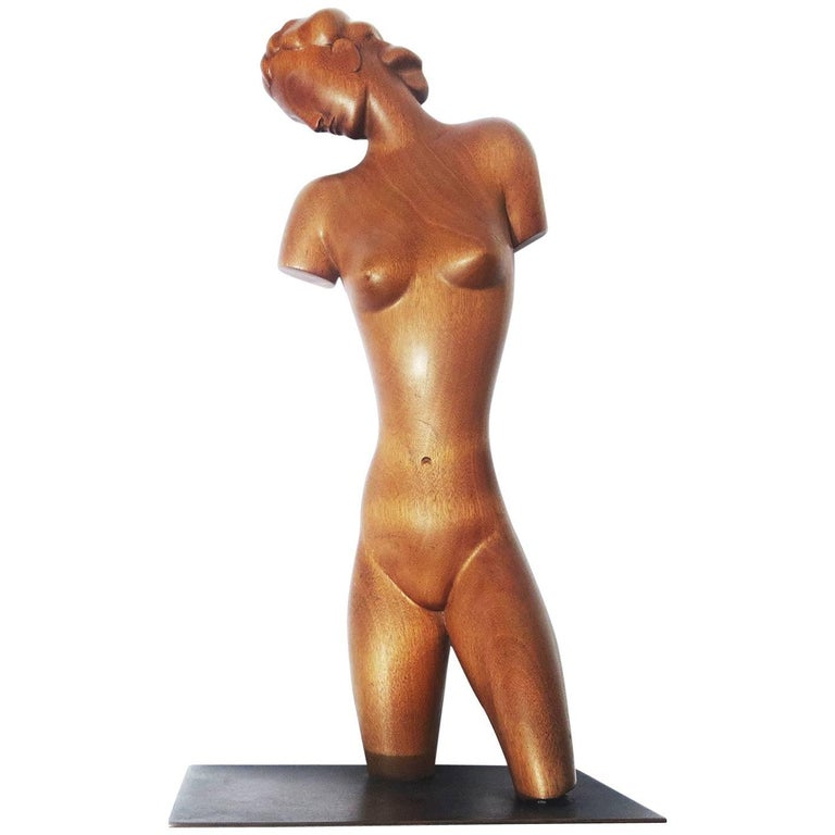 Art Deco Carved Wooden Nude Sculpture by Karl Hagenauer