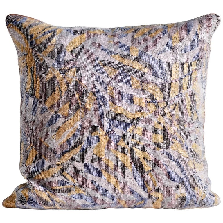 Handcrafted Embroidered Beaded Textile Pillow Multi-Color