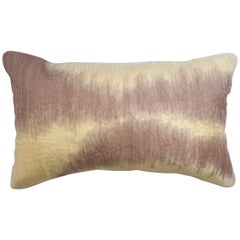 Handcrafted Embroidered Organza Ribbon Work Pillow Ombré Pink Yellow