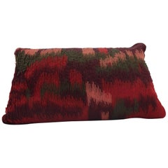 Handcrafted Embroidered Ribbon Work Pillow Ombré Green, Reds, Bordeaux