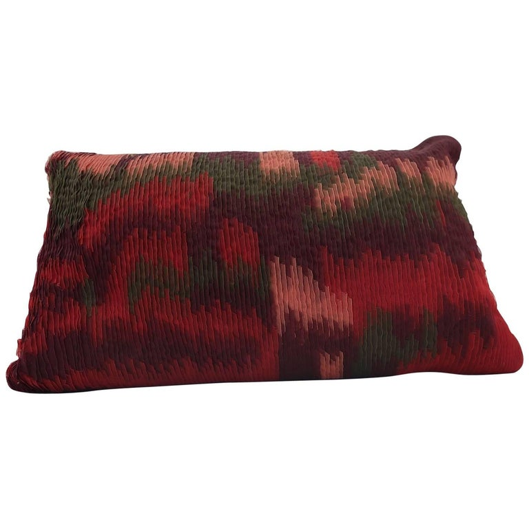 Handcrafted Embroidered Ribbon Work Pillow Ombré Green, Reds, Bordeaux For Sale
