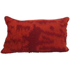 Handcrafted Embroidered Ribbon Work Pillow Ombré Red