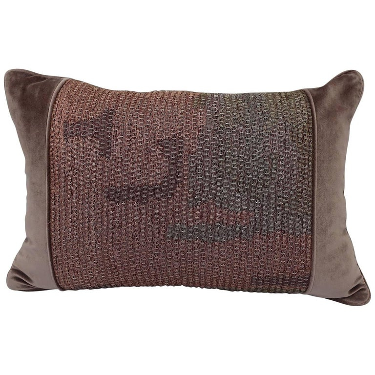 Handcrafted Embroidered Velvet Pillow Threads and Beads Dusty Pink