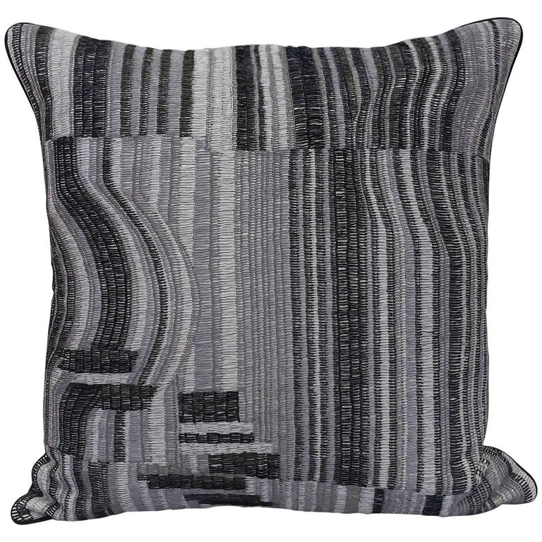 Handcrafted Hand Embroidered Pillow Geometric Design Black White Grey For Sale