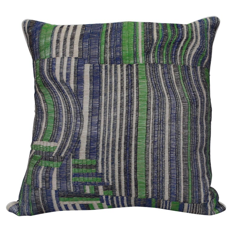 Handcrafted Hand Embroidered Pillow Geometric Design Navy Blue For Sale